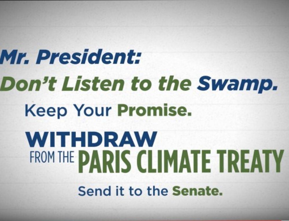 E&E Legal Joins CEI, Other Free-Market Groups on Letter Urging President Trump to Keep his Campaign Promise by Withdrawing from Paris Treaty