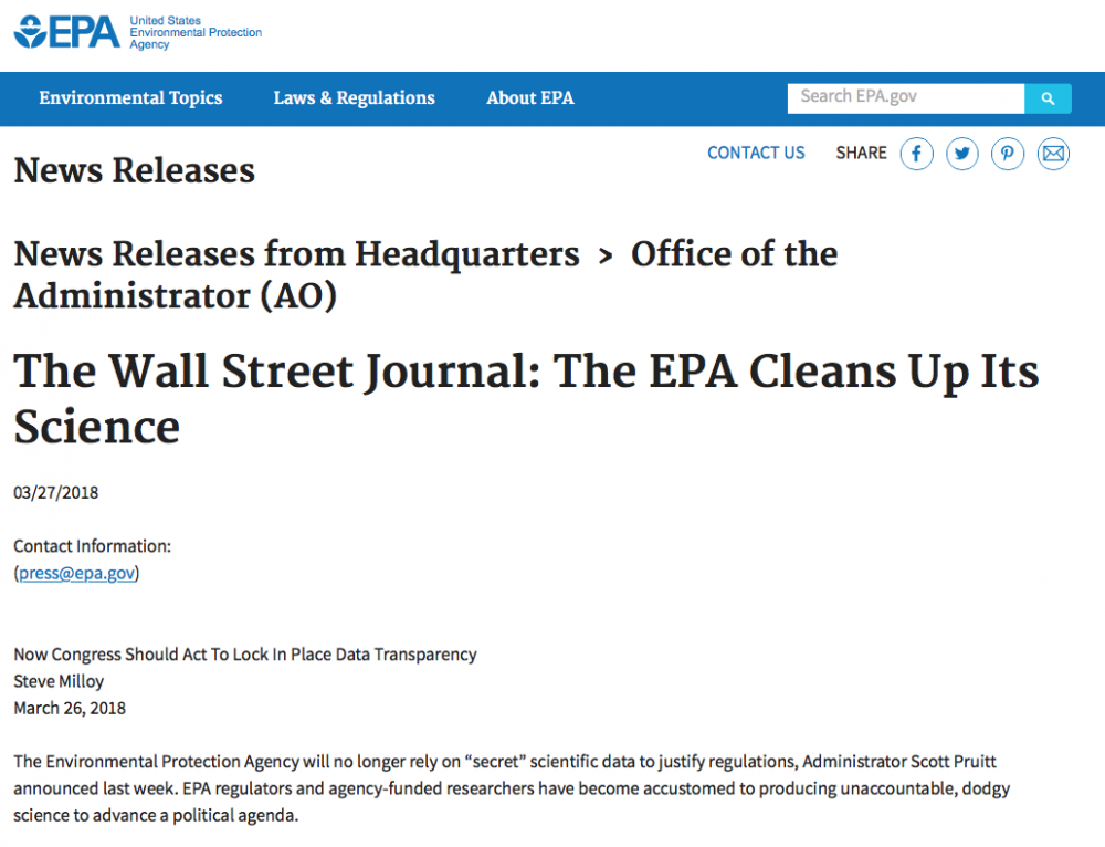 EPA Sends Milloy's 'Secret Science' Wall Street Journal Op-Ed As News Release