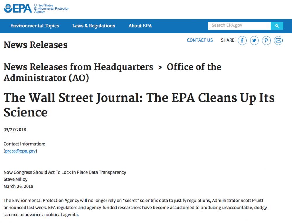 EPA Sends Milloy's 'Secret Science' Wall Street Journal Op-Ed As News Release